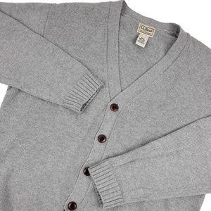 L. L. Bean V-Neck Cardigan Sweater Sz Medium Gray